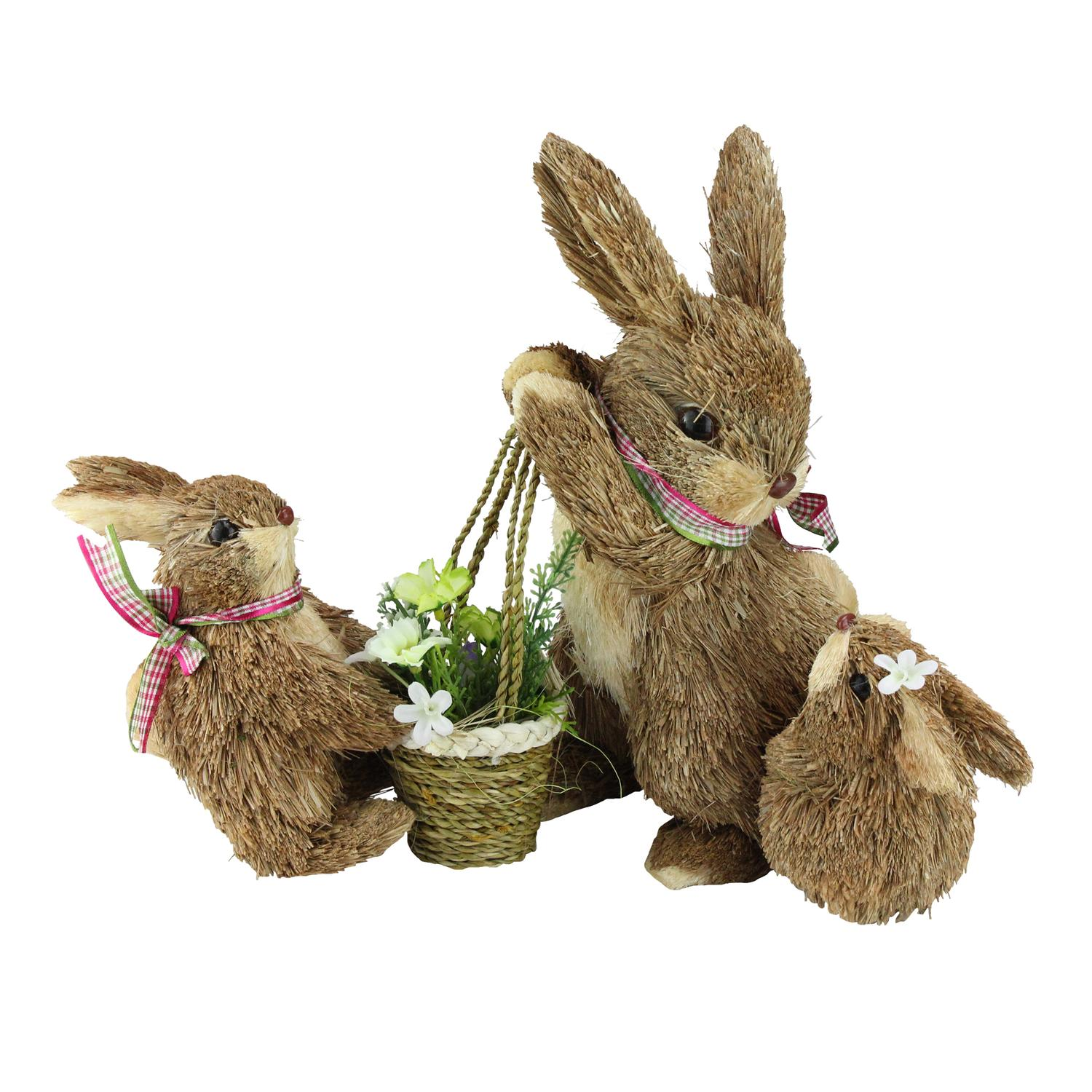 """13"""" Decorative Bunny Mom and Children with Flower and Scarf Figures - image 2 de 2"""