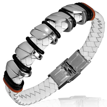 Stainless Steel White Braided Faux PU Leather Mens Bracelet