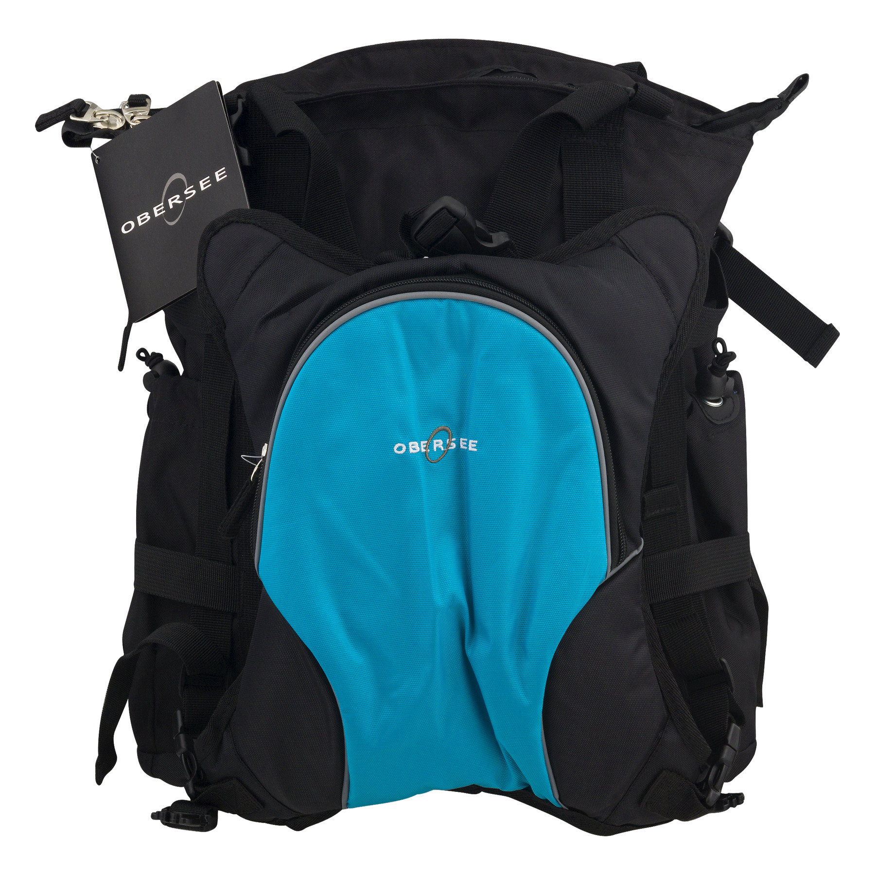 Obersee Innsbruck Diaper Bag Tote With Cooler Black/Turquoise, 3.0 CT