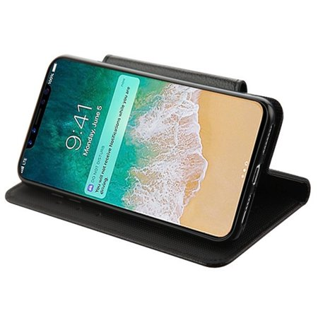 Insten MyJacket Stand Folio Flip Leather [Card Holder Slot] Wallet Pouch Case Cover For Apple iPhone XS Max, Black - image 2 de 4
