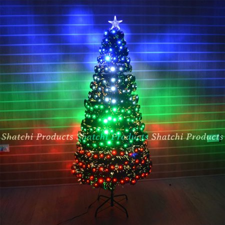 6ft 180cm LED Fibre Optic Christmas Tree Multi Colour Changing with Various  Effects Xmas Decoration - 6ft 180cm LED Fibre Optic Christmas Tree Multi Colour Changing With