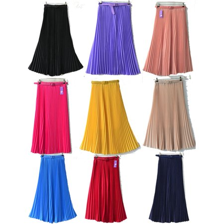 Women Casual Chiffon Pleated Retro Long Maxi Full Skirt Elastic Waist Band Skirt Full Long Skirt