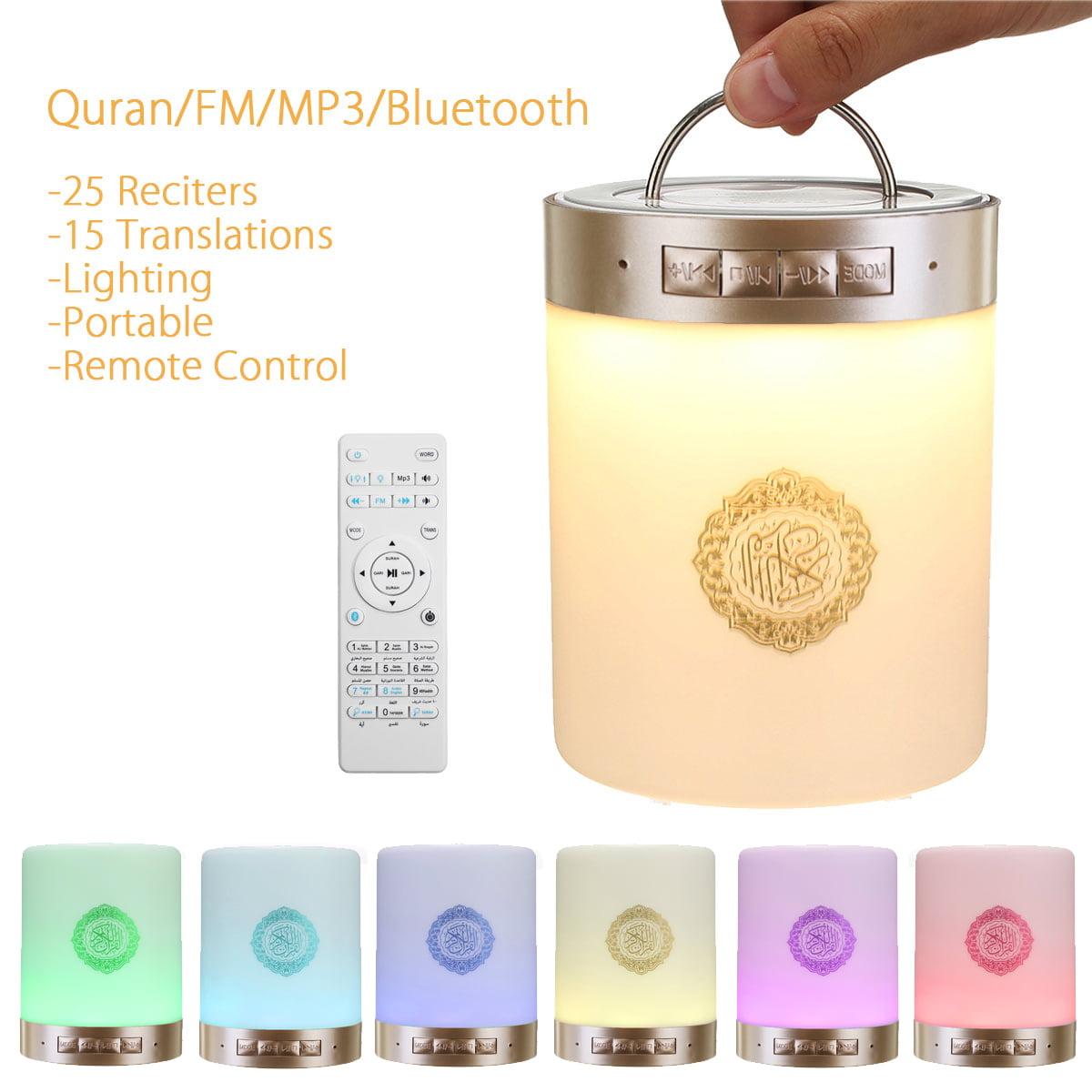 Portable 2in1 Bluetooth Wireless Samrt Quran Speaker Ramadan Islamic Azan Muslim Player Remote Control LED Touch Lamp Night Light