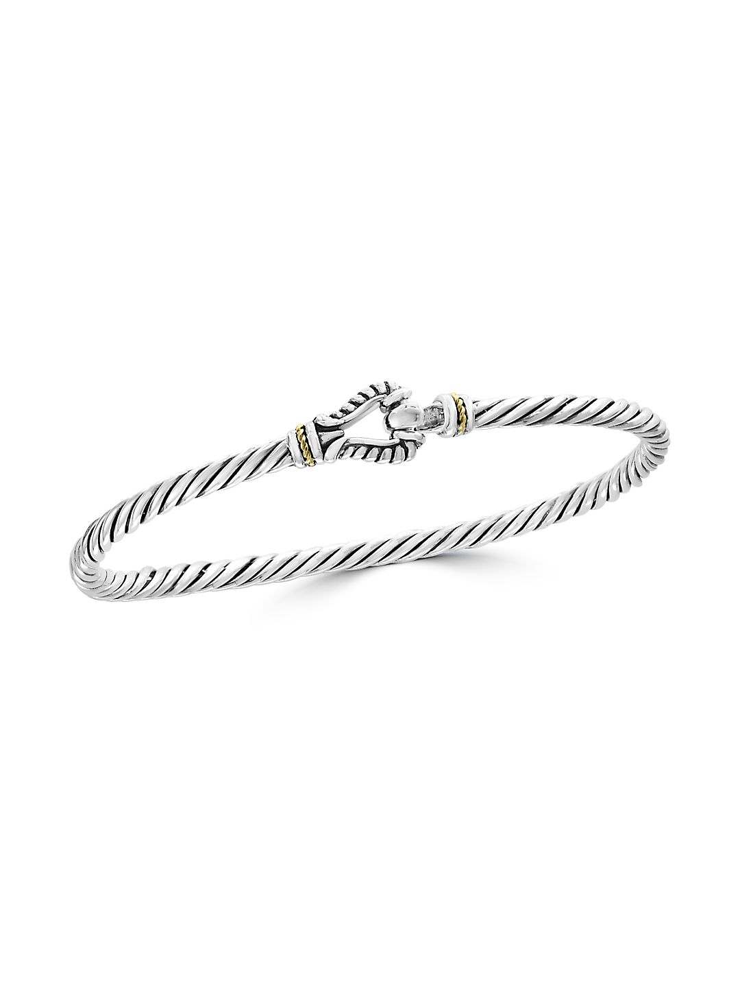 925 18K Yellow Gold and Sterling Silver Bangle Bracelet
