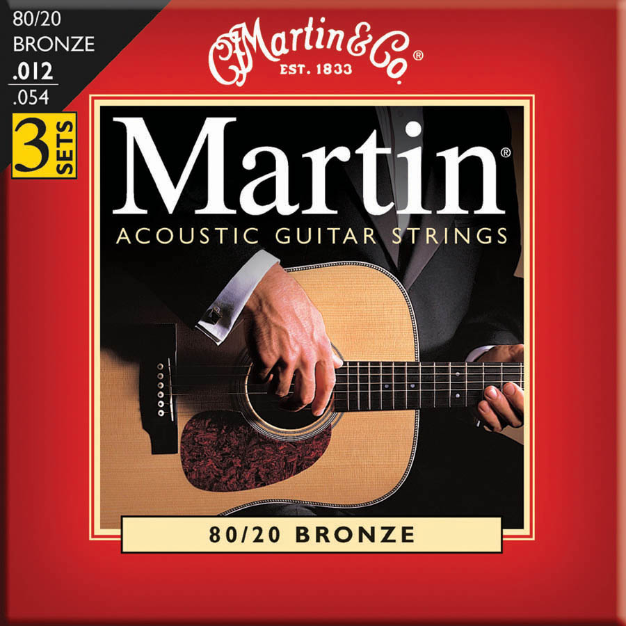Martin M140 3-Pack 80/20 Bronze Medium Gauge Acoustic Strings