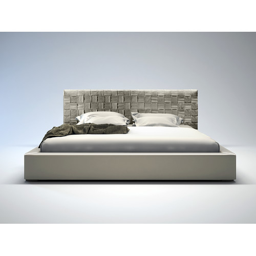 Modloft Madison Bed in Dusty Grey Leather