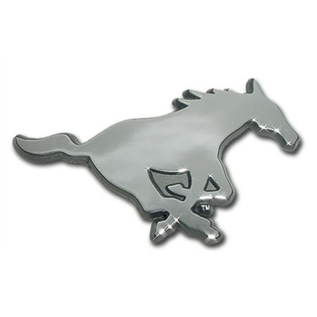 SMU Mustangs Chrome Logo Premium Metal Auto Emblem Decal