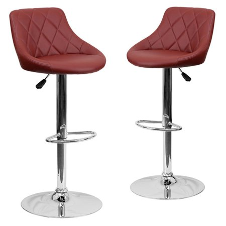 Belleze 2 Pc Bucket Style Seat Adjule Bar Stool Footrest Chrome Base Dark Red