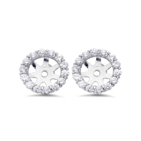 3/4ct Diamond Halo Earring Studs Jackets 14K White Gold Fits 1ct (6-6.7mm) 14k Gold Diamond Earring Jackets