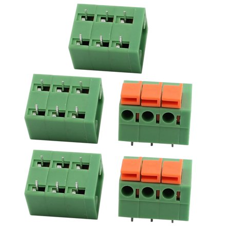 5pcs KF142R 250V 15A 5 08mm Pitch 3P Spring Terminal Block for PCB Mounting