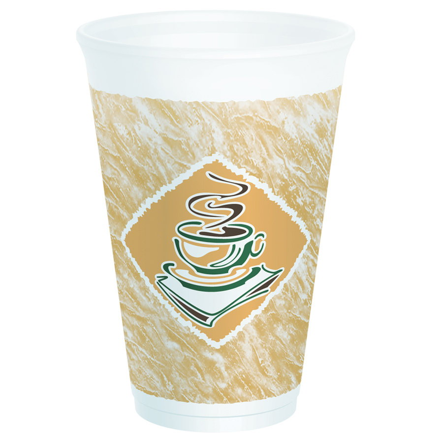 Dart Cafe G Hot/Cold Red Accents Foam Cup White 16 oz. | 1000/Case