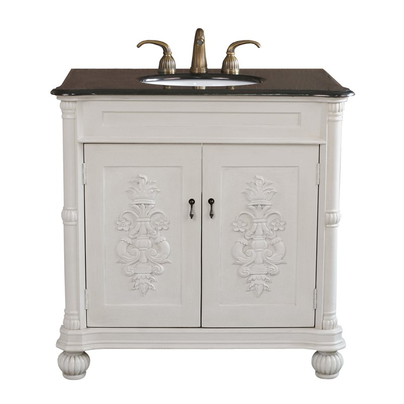 Bellaterra Home La Palma 36-in. Antique White Single Bathroom Vanity with Optional Backsplash