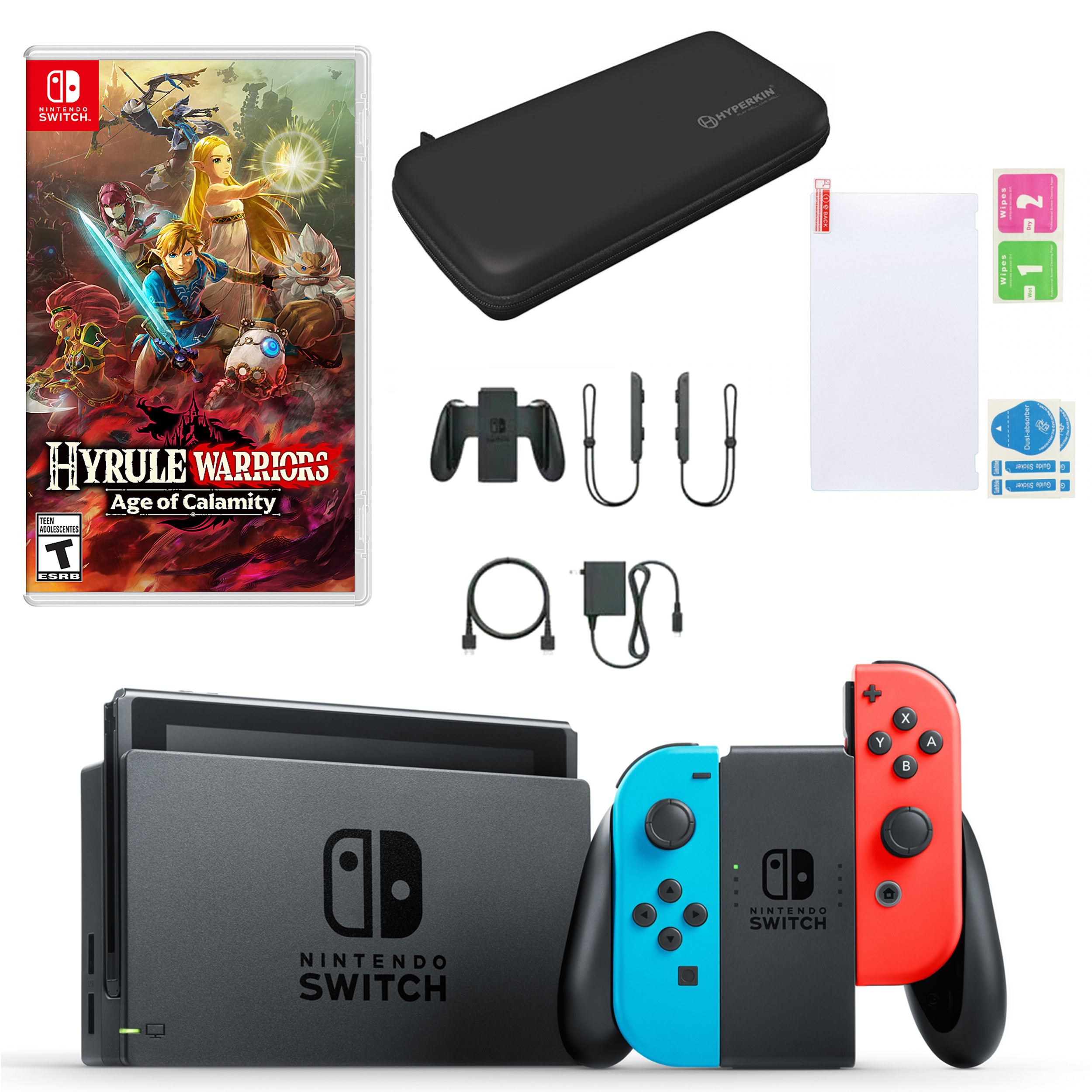 Nintendo Switch In Neon With Hyrule Warriors Age Of Calamity And Accessories Walmart Com Walmart Com