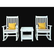 Anderson Teak Barcelona 3 pc. White Rocking Chair Set with Optional Sunbrella Cushion