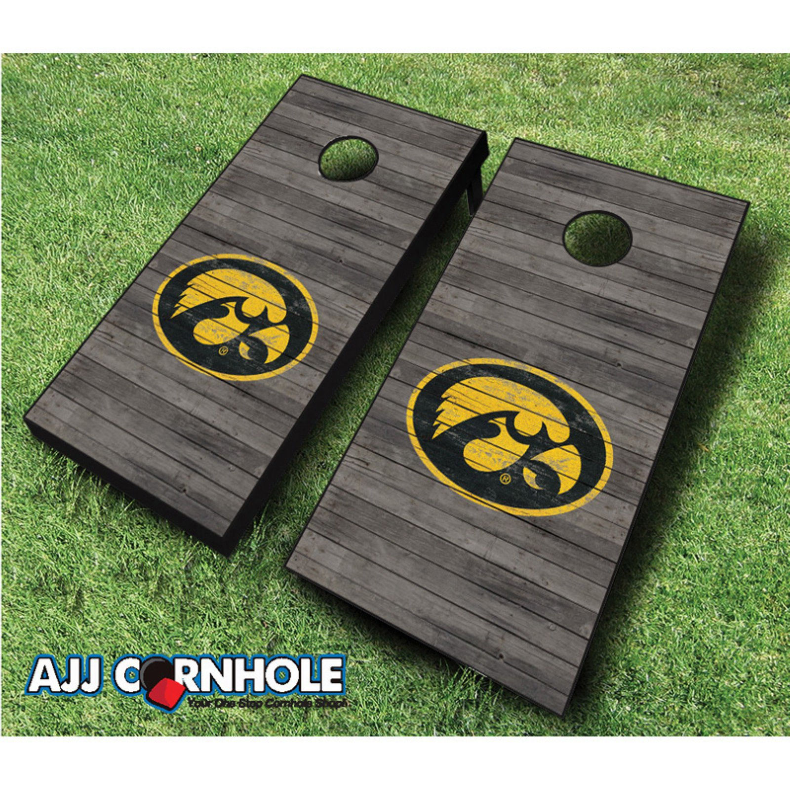 AJJ Cornhole Iowa Distressed Cornhole Set by