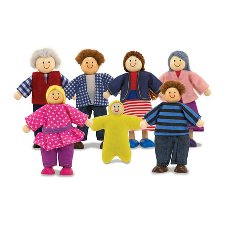 - Melissa & Doug 7-Piece Poseable Wooden Doll Family for Dollhouse, 2-4
