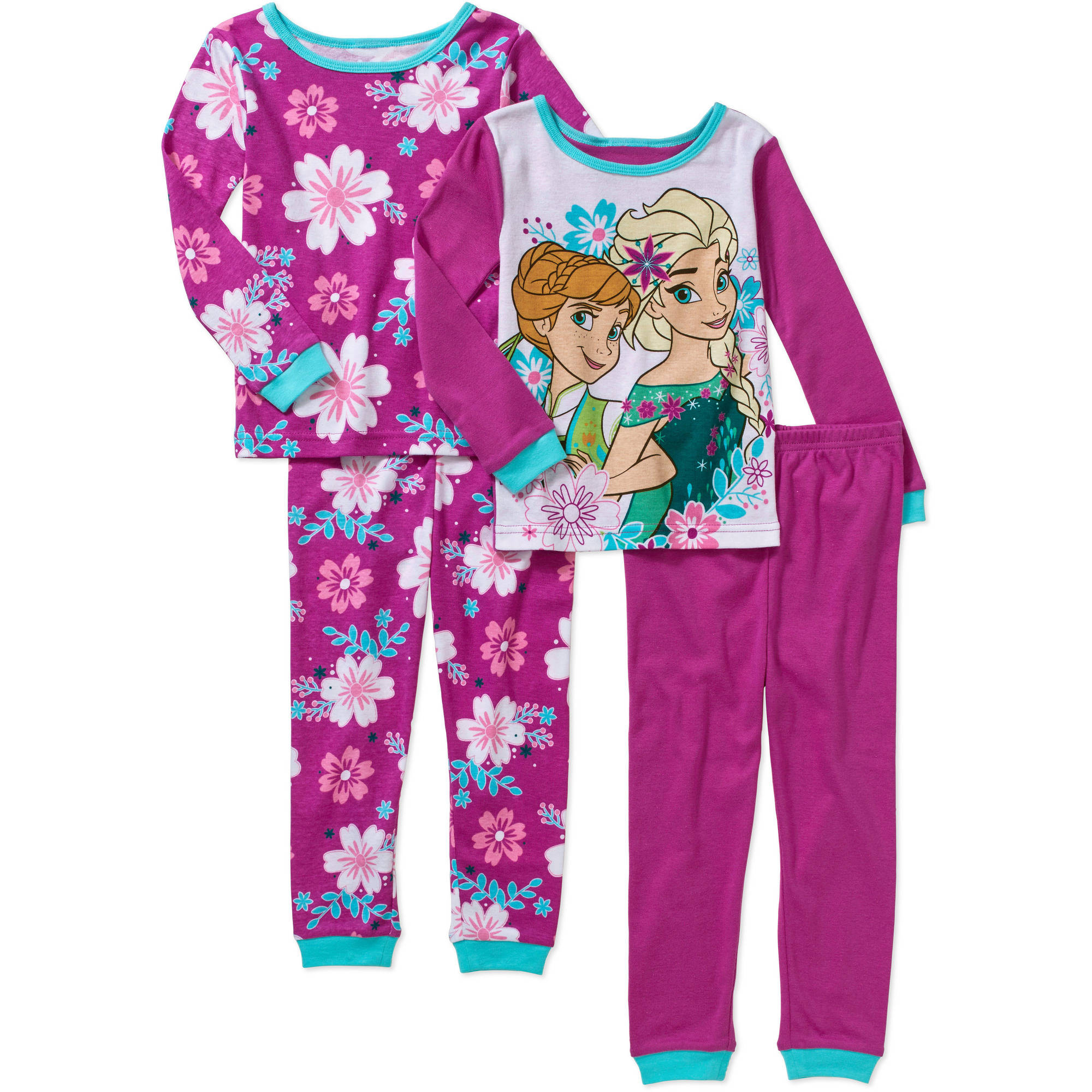 Disney Frozen Fever Baby Toddler Girl Cotton Tight-Fit Pajamas, 4-Piece Mix and Match Set