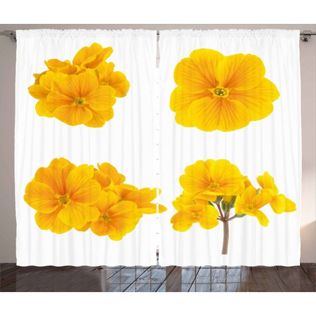 Yellow flower curtains 2 panels set gardening themed collection yellow flower curtains 2 panels set gardening themed collection with little tender primrose primula blossoms mightylinksfo