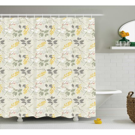 Grey and Yellow Shower Curtain, Vintage Farm Life Modern ...