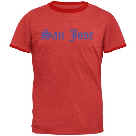 Cities Vintage Old English San Jose Heather Red-Red Men's Ringer