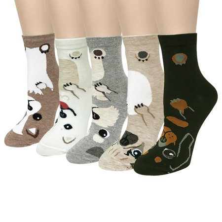 Adorable Set (Wrapables® Novelty Animal Print Crew Socks (Set of 5), Adorable Puppy Face)