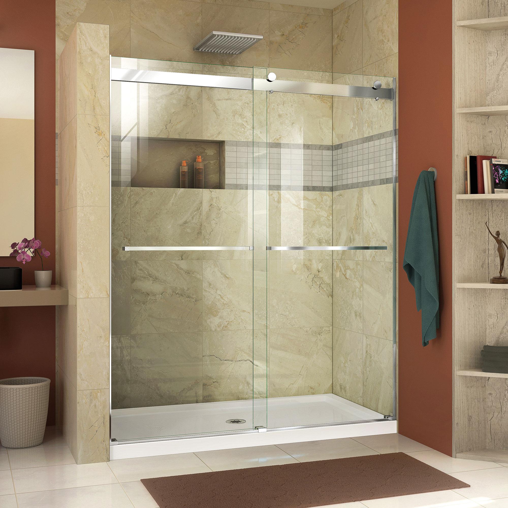 DreamLine Essence 56-60 in. W x 76 in. H Frameless Bypass Shower Door in Chrome