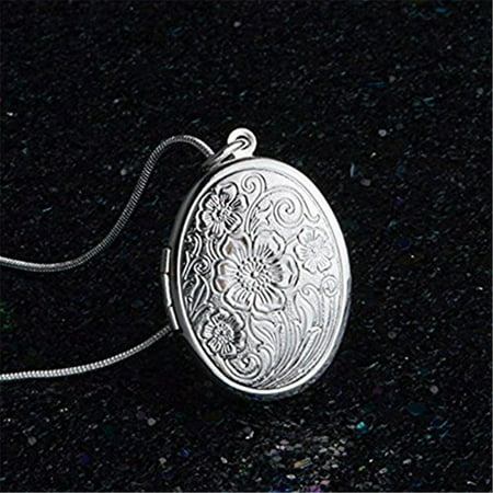 Fashion 925 Sterling Silver Rose Round Locket Necklace Box Snake Chain Jewelry