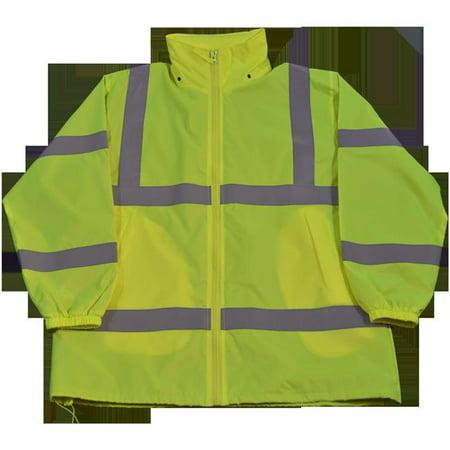 Knuckle Breaker - Petra Roc LWB-C3-5XL Wind Breaker Jacket Ansi Class 3 Lime Green Light Weight with Removable Hood & Zipper Closure, 5Xl
