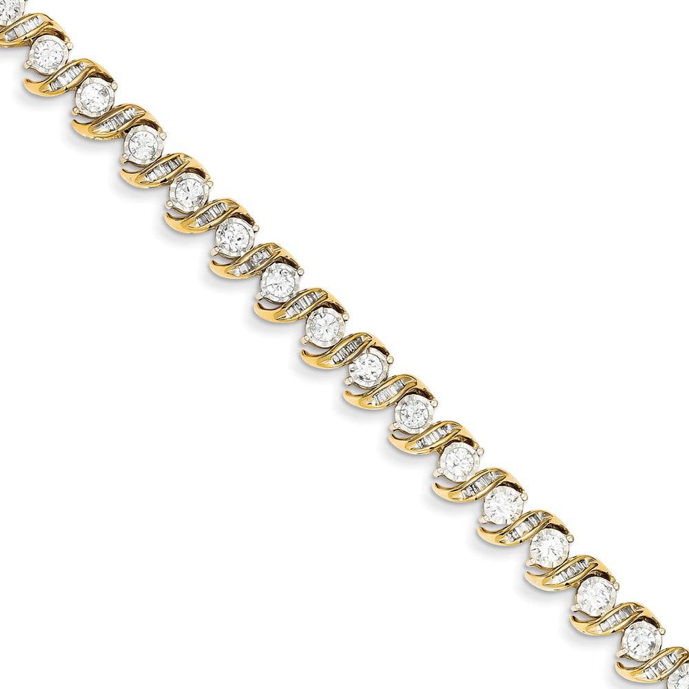 14k Yellow Gold Diamond Tennis Bracelet. Carat Wt- 3ct