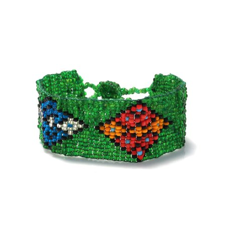 TAZZA WOMEN'S GREEN AND MULTI COLORED SEED BEAD WRAP BRACELETS