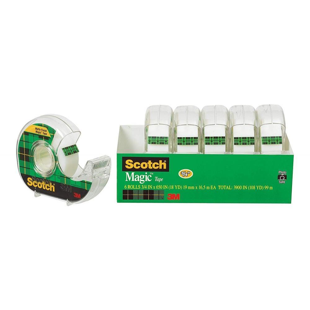 Scotch Invisible Magic Tape Dispenser 6 Pack, 3/4 in x 650 in per Roll
