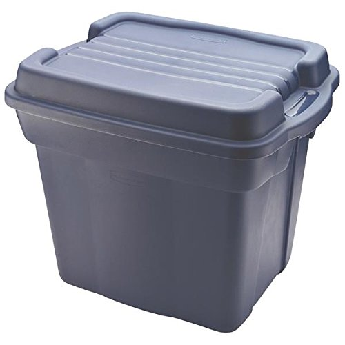 Roughneck Tote High-Top Storage Container, 24-Gallon, Dark Indigo/Metallic By Rubbermaid Ship from US