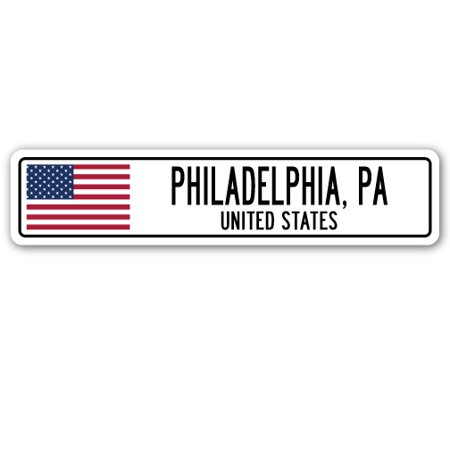 PHILADELPHIA, PA, UNITED STATES Street Sign American flag city country