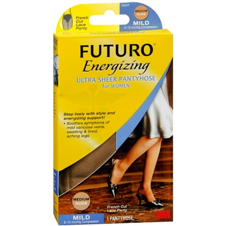FUTURO Energizing Ultra Sheer Pantyhose For Women French Cut Lace Panty Mild Medium Nude 1 Pair (Pack of 3)