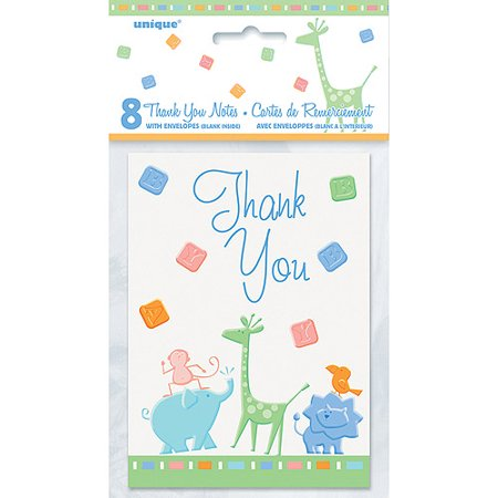 zoo animals baby shower thank you notes 8pk