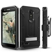 LG K30 Case, Evocel [Glass Screen Protector] [Belt Clip Holster] [Metal Kickstand] [Porthole Covers] [Full Body] Explorer Series Pro Phone Case for LG K30 / LG K10 (2018) / LG Premier Pro, Black