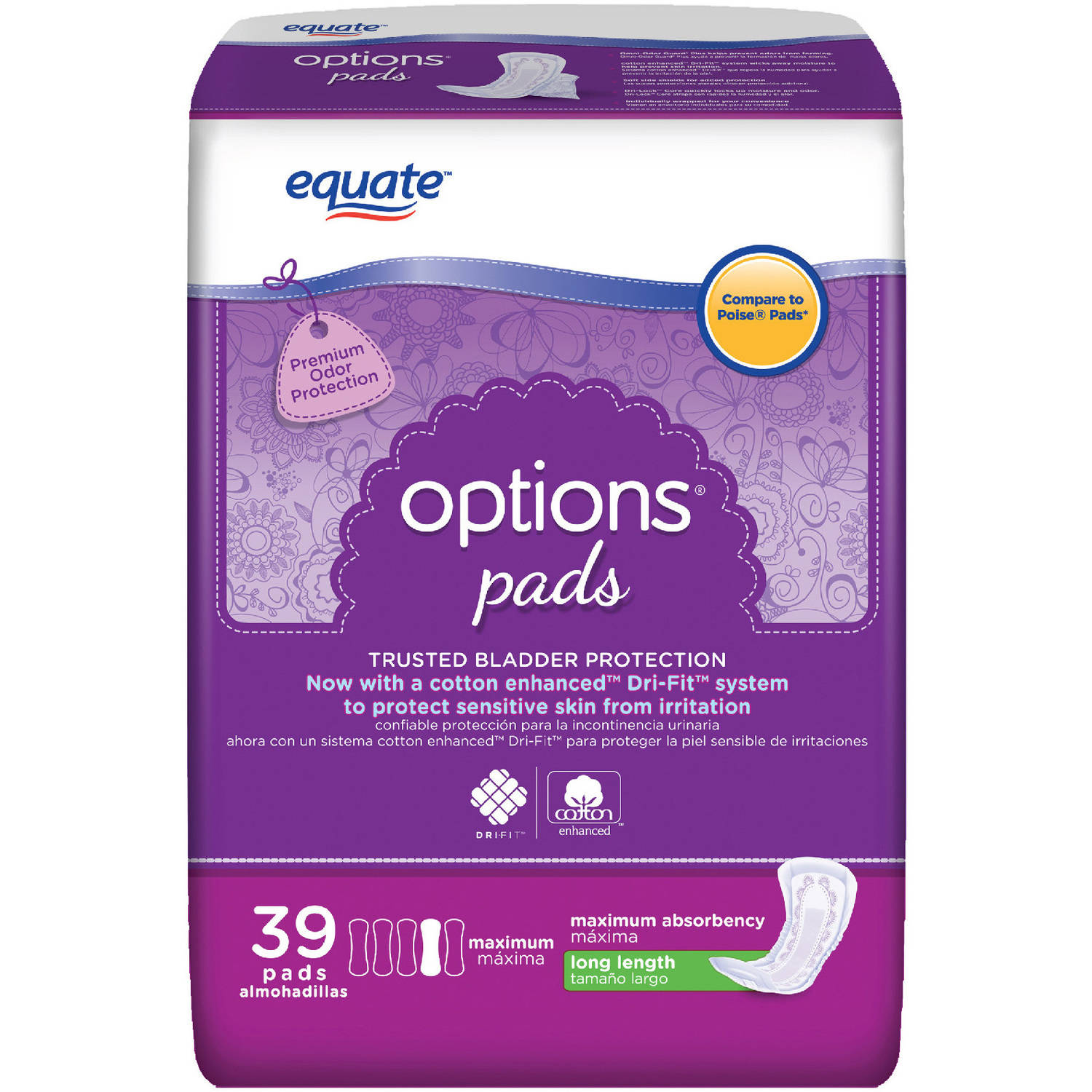 Equate Body Curve Maximum Regular Length Incontinence Pads, 39 count
