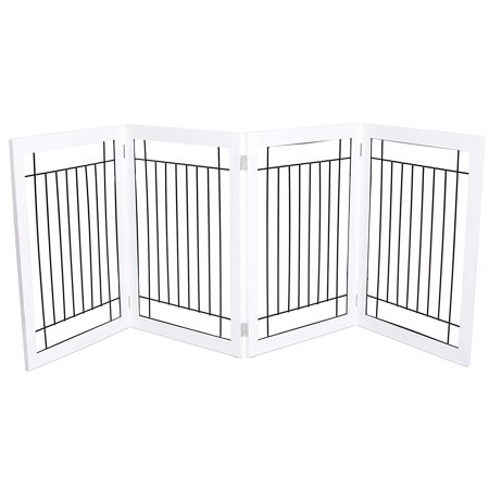 Internet's Best Traditional Wire Dog Gate | 4 Panel | 30 Inch Tall Pet Puppy Safety Fence | Fully Assembled | Durable MDF | Folding Z Shape Indoor Doorway Hall Stairs Free Standing | White