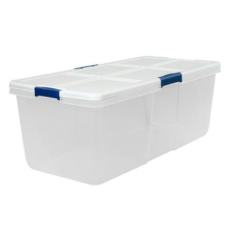 Hefty Modular Clear Storage Bins, 100 Qt. XL Stackable Bin with Latch, White/Navy