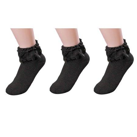 Princess Crown Socks - AM Landen Women's Black 3 pairs Lace Ruffle Frilly Cotton Socks Princess Socks Ankle Socks