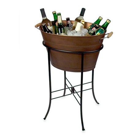Oasis Picnic Caddy, Antique Copper, WChiller Antique Dispenser Chiller 15Gallon Metal Antiqued The Pail Party and Oval by have copper antique Copper Beverage.., By Artland Ship from US