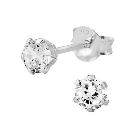 Hypoallergenic Sterling Silver CZ Simulated Diamond Stud Earrings for Kids (Nickel Free)