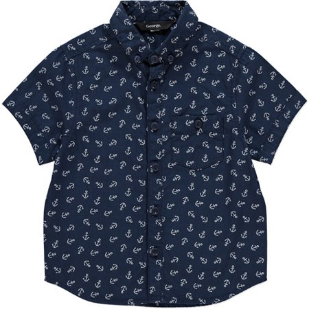 38d8d463b George Uk - Baby Toddler Boy Anchor Print Short Sleeve Button Down Shirt -  Walmart.com