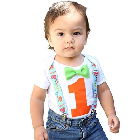 Noah's Boytique Baby Boys 1st Birthday Bodysuit with Bow Tie 6-12 M Fish (Bow Tie Onesie)