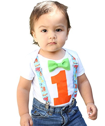 Noah's Boytique Baby Boys 1st Birthday Bodysuit with Bow Tie 6-12 M Fish