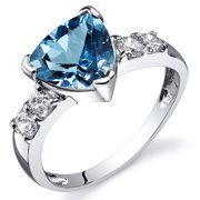 2.00 Ct Swiss Blue Topaz Engagement Ring in Rhodium-Plated Sterling Silver