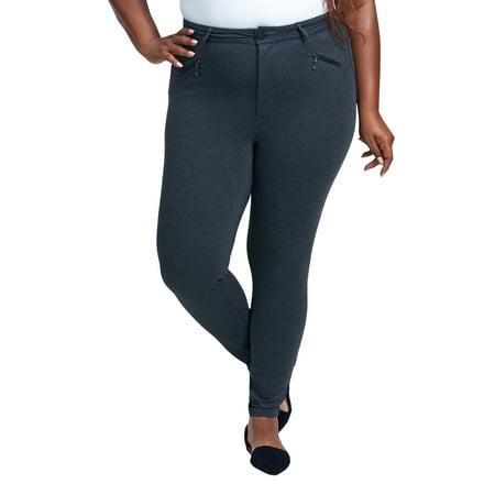 Seven7 Women's Plus Size High Rise Ponte Legging with Zipper Pockets Low Rise Zipper Pockets