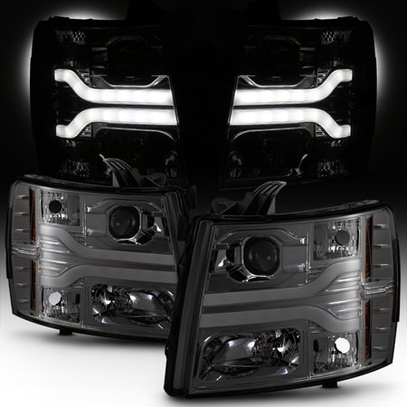 Fits 2007-2013 Chevy Silverado Dual DRL LED Tube Smoked Projector Headlights ()