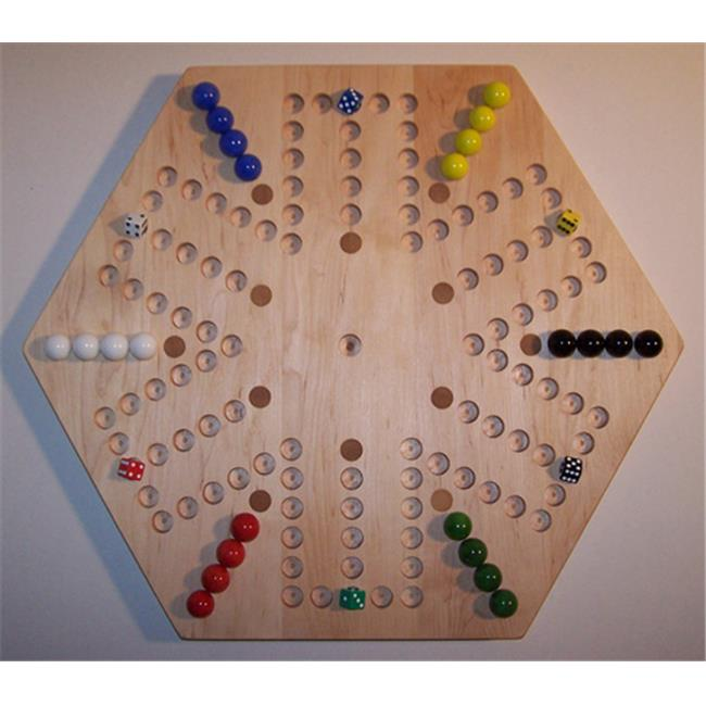 Charlies Woodshop W-1937alt.-2 Wooden Marble Game Board - Hard Maple with 12 Birch Inlaid Spots