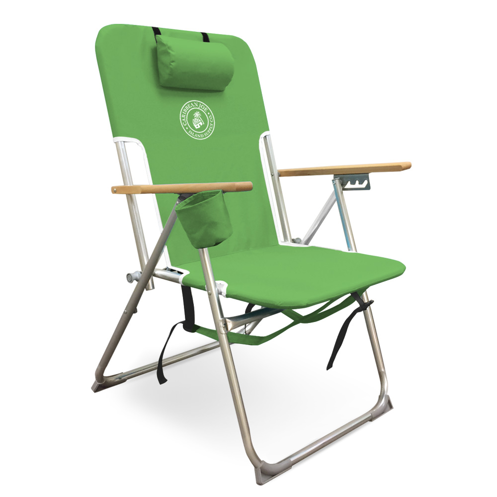 Caribbean Joe High Weight Capacity Back Pack Chair with wood armrests. Double Shoulder Straps and cup holder